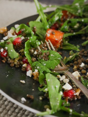 Lentil Salad With Roasted Pumpkin And Feta Cheese