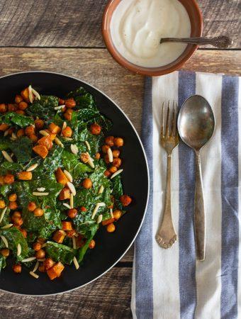 Kale Salad with Roasted Sweet Potato, Spiced Chickpeas and Yogurt Dressing