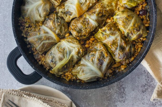 Stuffed Cabbage with Freekeh, Dried Fruits and Pine Nuts