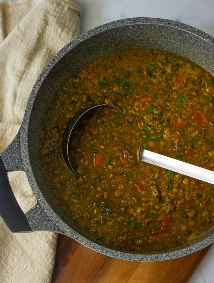 Green lentil and mushroom soup